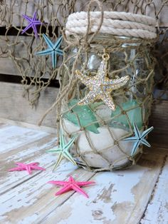 Nautical mason jar,nautical decor,under the sea decor,nautical baby shower,beach nursery,nautical nursery,little mermaid decor,mermaid decor