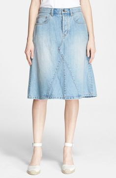 49ed9d1cf3 MARC BY MARC JACOBS  Icon  Slub Denim Midi Skirt available at  Nordstrom  Waist