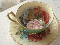 plato y taza de té antiguo conjunto taza del té por ShoponSherman