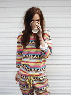 Multi-Color Stripe Pattern, Long Sleeve and Pant, Drawstring Romper, Messy Hair, Coffee. #Lounge #Casual