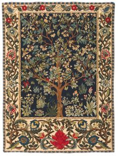 Green Tree of Life Aubusson Tapestry Art Wall Hanging Antique Home Room Decor