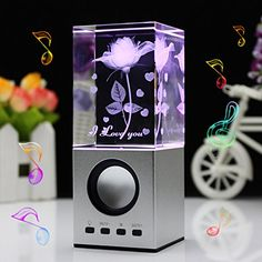 LIWUYOU Christmas Gifts Engraved I Love You Crystal 3D Rose Flower Colorful Small Speaker, with No Memory Card, Rose
