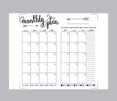 Printable Travelers Notebook Monthly Planner PDF file.  DOWNLOAD INCLUDES:  1) 8.5 x 11 (Letter) PDF file 2) A4 PDF file  Monthly planner…