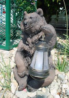 Solar Powered Grizzly Bear with LED Lantern Light