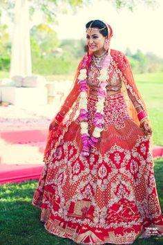 Browse photos, outfit & decor ideas & vendors booked from a real Punjabi /Sikh Modern & Stylish wedding in Delhi NCR. Indian Bridal Lehenga, Red Lehenga, Lehenga Choli, Bride And Son, Lehenga Designs, Indian Wear, Stylish, Pakistani, Fairytale