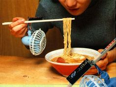 Bizarre Japanese Inventions ~ Chopstick Fan - Bottled by The Princess & Her Peeves Japanese Inventions, Message In A Bottle, Tableware, Challenge, Princess, Funny, Dinnerware, Dishes, Wtf Funny