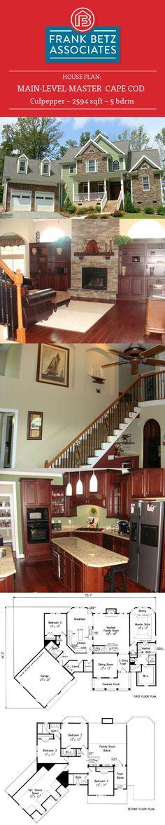 Culpepper: 2594 sqft, 5 bdrm, main-level-master Cape Cod house plan design by Frank Betz Associates Inc.