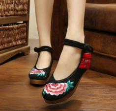 Women Casual Chinese Embroidered Shoes Floral Oxfords Sole Loafer Shoes XZ076 #Nibox #LoafersMoccasins #Casual