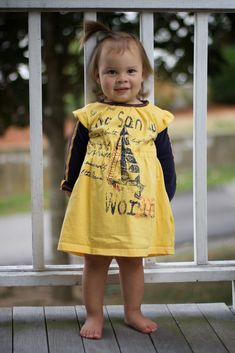tutorial and pattern for making a little girl's knit dress out of an old t-shirt...sizes 12 months - 5