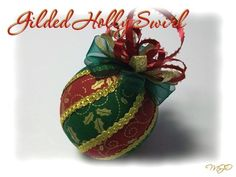 Golden Holly Swirl Kimekomi Ornament-Golden Holly Swirl Kimekomi Christmas Ornament