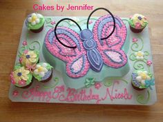 Butterfly Garden - Wilton butterfly pan and a few cupcakes. All buttercream.