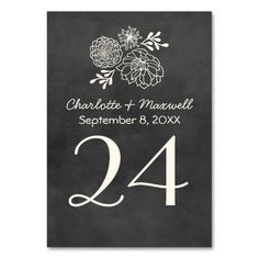 Chalkboard Wedding Table Number Card Tablecard Table Card