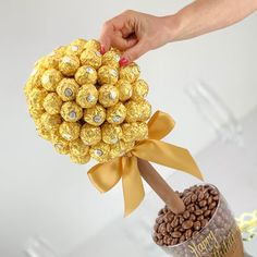 Buy a Ferrero Rocher Sweet Tree. Made from quality Belgian chocolate and personalised with a message of your choice. Belgian Chocolate, Chocolate Box, Chocolate Lovers, Ferrero Rocher Tree, Rice Krispies Ingredients, Whey Powder, Sweet Trees, Chocolate Coating, Navidad