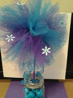 1 FROZEN purple and turquoise shimmer tutu wand with iridescent snowflakes with mini turquoise gems on Etsy, $7.00