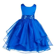 Ekidsbridal Asymmetric Ruffled Organza Sequin Flower Girl Dress Weddings Easter Special Occasions Pageant Toddler Birthday Party Holiday Bridal Baptism Junior Bridesmaid Communion from brand. Sequin Flower Girl Dress, Toddler Flower Girl Dresses, Wedding Flower Girl Dresses, Black Wedding Dresses, Little Girl Dresses, Toddler Dress, Girls Dresses, Blue Wedding, Wedding Flowers