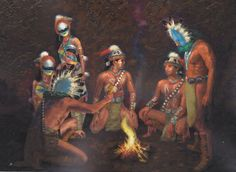 The Holy Beings Teach the Navajo Twins (Poster) Before they are able to embark on a life of serving the People, they must stand on the firm foundation of knowledge. Native American Women, American Indian Art, American Pride, Navajo Language, Navajo Culture, Navajo Art, Navajo People, Historical Images, People Art