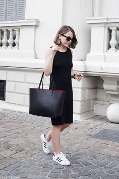 Trini | Gap black midi dress - Adidas superstar sneakers - Mansur Gavriel bag