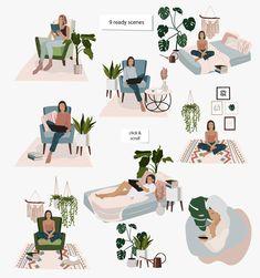 stay home illustration Stay Home - Vector set by Elena Dorosh on creativemarket