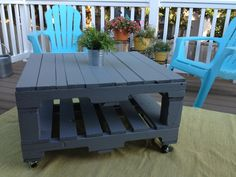 2 pallets  4 6inch 4x 4 wheels  8 L-brackets = awesome pallet table