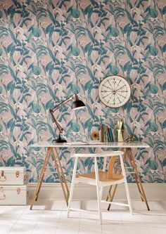 Graham & Brown launch new floral collection inspired by the Chelsea Flower Show. This design is called Botanical: Harking back to the floral artwork of the Victorian era, this is a collection of opulent floral designs in contemporary, bold shades of dusky pink and teal, and a more traditional colour palette of green and white. Find more ideas at housebeautiful.co.uk