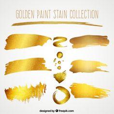 Collection de coup de pinceau d'or Vecteur gratuit