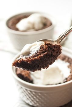 These rich Kahula brownies for two are perfect for when you want to indulge, but don't want leftovers hanging around, or when you want to make a special date night treat. The recipe is simple, and you only need a pot, bowl, spatula, measuring spoons and a couple of ramekins to pull it off!