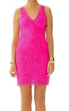 Lilly Pulitzer Astrid Knit Crochet Lace Shift Dress in Pop Pink