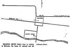 """El diario """"The Hutchinson News"""", en su edición del domingo 22 de noviembre de 1959, publicó este esquema de la ubicación de la granja de los Clutter en relación a Holcomb, el Ferrocarril de Santa Fe y el rio Arkansas. Tal como reza la leyenda. Seguramente, la intención del diario era situar a sus lectores en el escenario de la tragedia."""