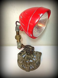 Found Object Assemblage Sculpture - Up-cycled Lamp - Hothead ©♦️More Pins Like This At FOSTERGINGER @ Pinterest