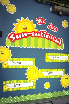 Dress up a boring classroom door with Happy Suns Sunsational Work Bulletin Board Display Set, Name Plates, and Lime Mini Polka Dots Scalloped Border Trim