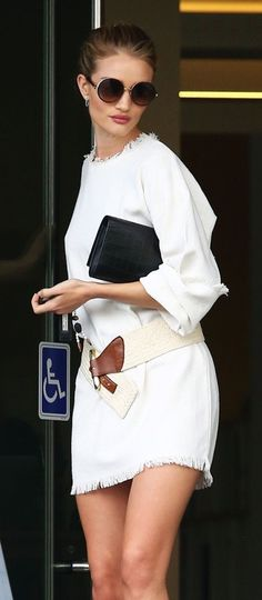 Channel Rosie Huntington-Whiteley's white ensemble for an effortless warm-weather outfit that can easily be dressed up or pared down.
