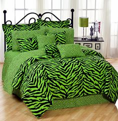 Arguably one of the oddest bedding sets I have ever seen - nothing says restful like neon green zebra print.