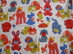 Vintage 70s Children's BABY ANIMAL Calico FABRIC Pony Puppy Turtle Bunny Cat Dog Pig JUVENILE Red Blue Yellow
