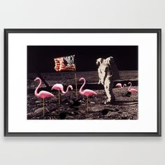 Buy Neil Armstrong And Flamingos on The Moon Framed Art Print by rubinocreative. Worldwide shipping available at Society6.com. Just one of millions of high quality products available.