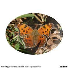 Butterfly, Porcelain Platter. Porcelain Serving Platter