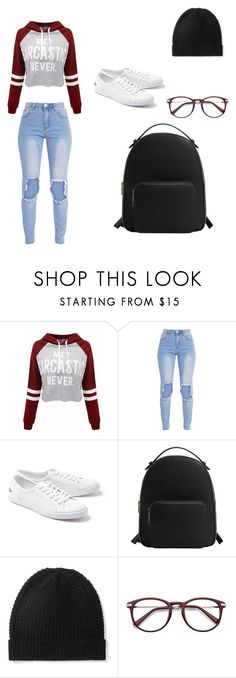 """""""When its 1 am and you're bored af"""" by thelittlebigsis ❤ liked on Polyvore featuring WithChic, Lacoste, MANGO and Madeleine Thompson"""