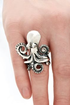 Silver Octopus Ring - heronadornment's shop ($334)# to add #gifts