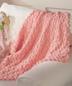 "Princess Blanket: Red Heart® Soft Baby Steps®: 4 balls 9800 Baby Blue OR 9700 Baby Pink. Susan Bates® Circular Knitting Needles: 5mm [US 8] – 36"""
