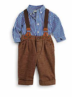 Ralph Lauren Infant's Two-Piece Striped Shirt & Herringbone Pants Set