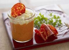 Verrine basque au chorizo des Aldudes Chorizo, Tapas, Pudding, Desserts, Food, Basque Country, Drinks, Stone, Recipes