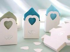 Favour Box - Silver Double Heart  - 100pc - White