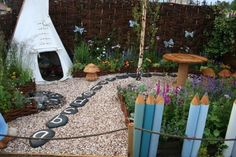 "I like the alphabet stones in this cute garden ("",)"