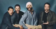Misha, Jensen, Jared and Mark. Um what did you say? I cant think when Jared's beard is that good.......I. am.mesmerized.