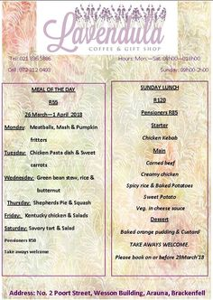 Lavendula: Our menu for this week. For more info please contact us on 021 836 Chicken Pasta Dishes, Bean Stew, Coffee Gifts, Corned Beef, Creamy Chicken, Fritters, Green Beans, Menu, Pumpkin