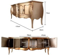 French Four Door Sideboard in Gold