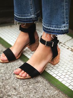 Sydney Cove Block Heel   Open-toe suede block heels featuring adjustable ankle strap and leather sole. Cork-bottomed heels.