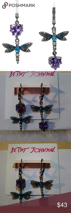 Betsey Johnson Dragonfly Earrings Betsey Johnson Cubic Zirconia double drop mismatch statement dragonfly earrings. Features blue crystal accents and purple colored cubic zirconia stones with euro wire. Brand new and just lovely! Betsey Johnson Jewelry Earrings