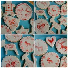 Hand painted biscuits for Xmas, Scandinavian/Dolomites/South Tirol style