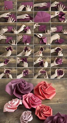 Как свернуть оригами-розу (Diy) / Бумага и кара. So falten Sie eine Origami-Rose (Diy) / Papier und Stifte (Scrapbooking, Origami usw. Origami Rose, Instruções Origami, Paper Crafts Origami, Dollar Origami, Paper Crafting, Flower Oragami, Origami Tattoo, Origami Bookmark, Origami Folding