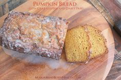 Low carb pumpkin bread with glaze. Almond flour based. I think mine will have a higher fiber content since fresh pumpkin is not as smooth as canned and is so much more flavorful.